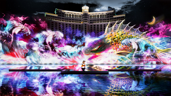 "「KABUKI Spectacle at FOUNTAINS OF BELLAGIO Koi-Tsukami ""Fight with a Carp""」"