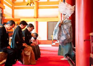 鸚、幸四郎、染五郎が「當る亥歳 吉例顔見世興行」成功祈願