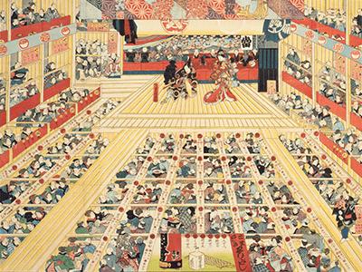 両花道がある、江戸時代の芝居小屋の様子。(国立国会図書館蔵)